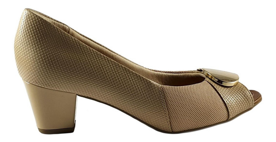 Sapato Feminino Usaflex Aa2604 Salto Médio Nude