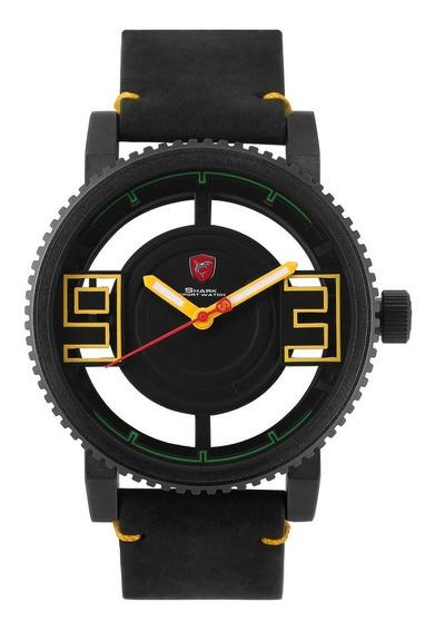 Black Shell Crazy Horse Belt Relógio De Quartzo Relógio Simp