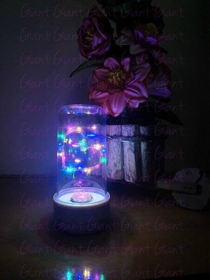 8 Cúpula Encantada Redoma Luminária Led Coração Pilha Color