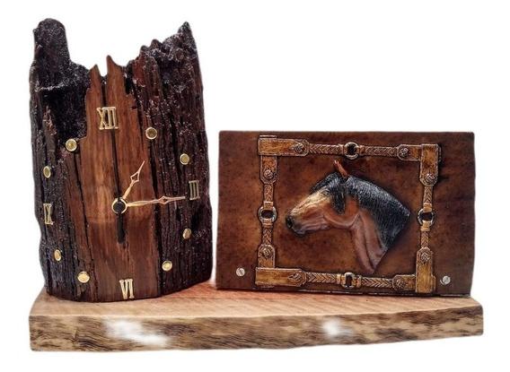 Relógio De Mesa Rústico Madeira Cavalo Envio Imediato