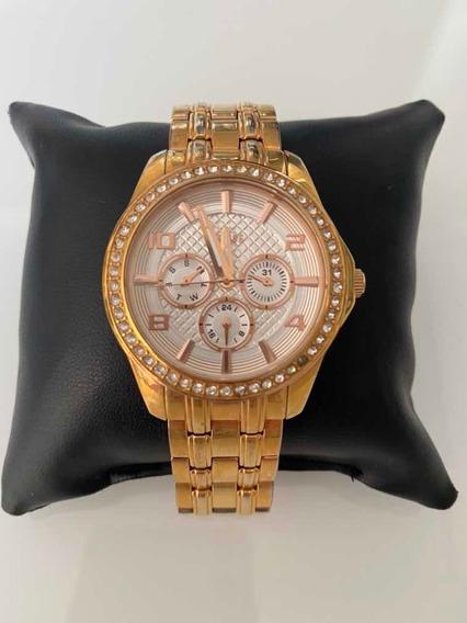 Relógio Guess Feminino Dourado Com Cristais Original