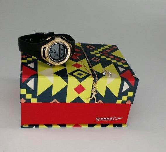 Kit Relógio Speedo Preto Com Dourado Feminino 80612l0evnp1