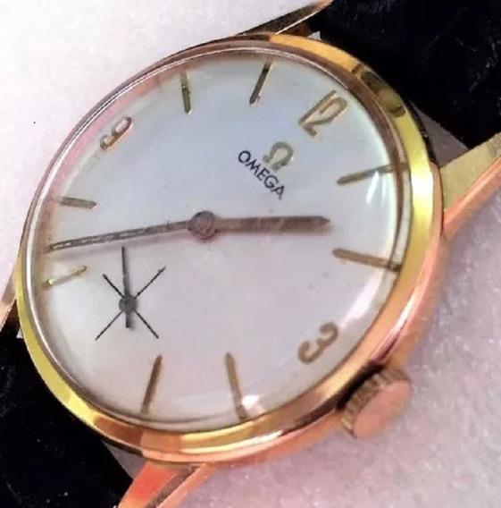 Relógio De Pulso Clássico Suíço Omega Masculino Plaque Ouro