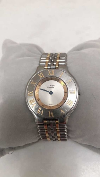 Relógio Original Must 21 Cartier Aço E Ouro Versão Atual