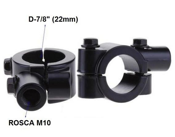 Par Suporte Abraçadeira Retrovisor Moto 7/8 (22mm) M10