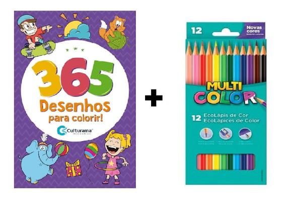 Livro Para Colorir 365 Desenhos + Lápis Cor Faber 12 Cores