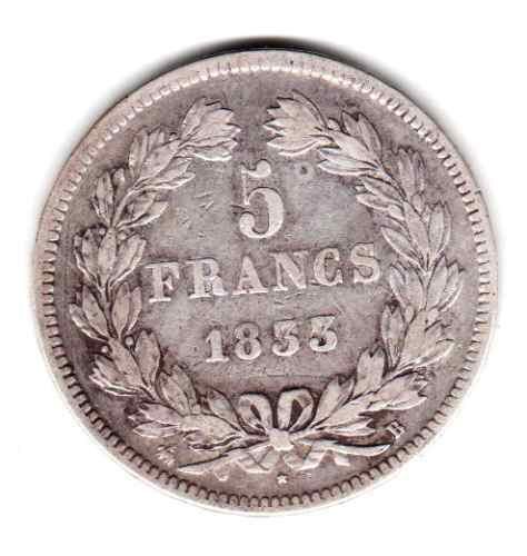 Moneda Francia Plata Año 1833 B Rey Luis Felipe I Muy Buena