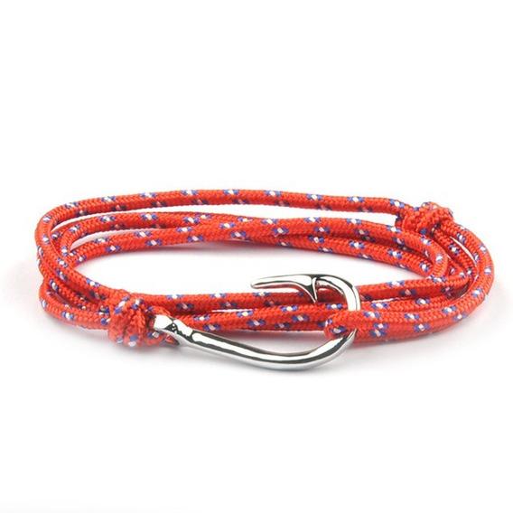 Pulseira Feminina Bracelete Couro Vermelha Anzol Vintage