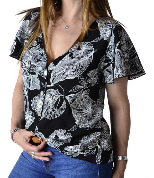 Blusa Remera Con Botones Estampada Mujer The Big Shop