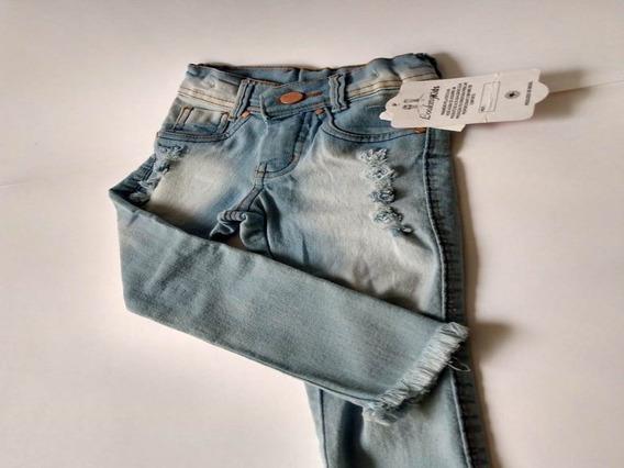 Calça Menina Jeans Infantil Com Elástico Regulador