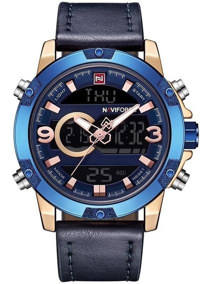 Relógio Masculino Naviforce Esportivo Digital Couro Original