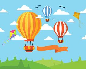 Painel De Festa Infantil Em Tecido Balões E Pipas 5,0x3,0m