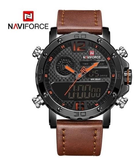 Relógio Masculino Naviforce Militar Couro Original Envio Já