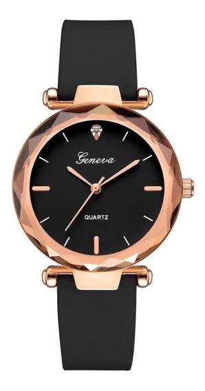 Relógio Feminino Preto Geneva Casual Strass Fashion Delicado