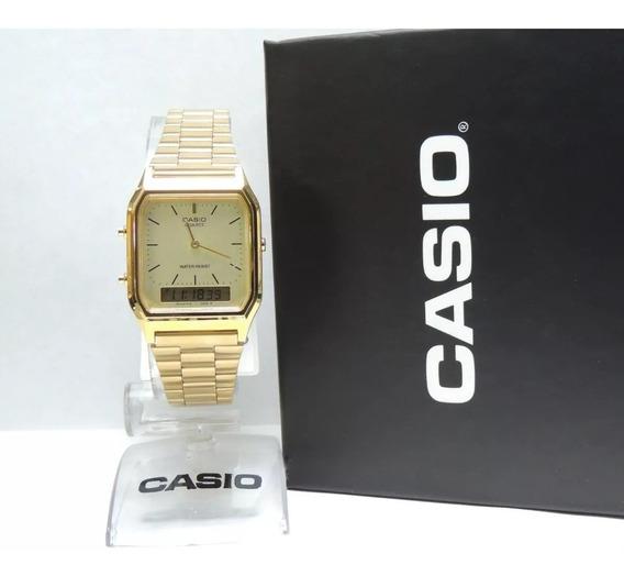 Relogio Original Cassio Aq230 Dourado Ouro Gold Frete Gratis