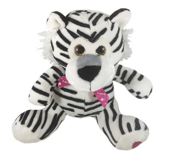 Bicho De Pelúcia Tigre Branco 30cm Presente Amor Promoção