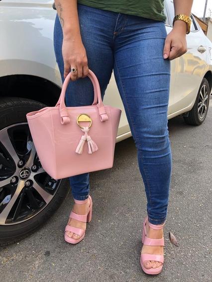 Kit Sandália Salto Alto Anabela Melissa Model+bolsa Love Bag