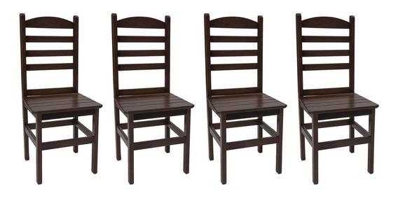 Kit 4 Cadeiras Fixa Assento Ripado De Madeira Cozinha Jantar