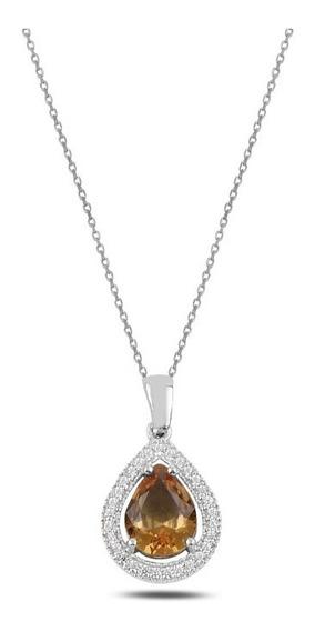 Collar Plata Turca Zultanite (sultanita) Gota Con Cristal