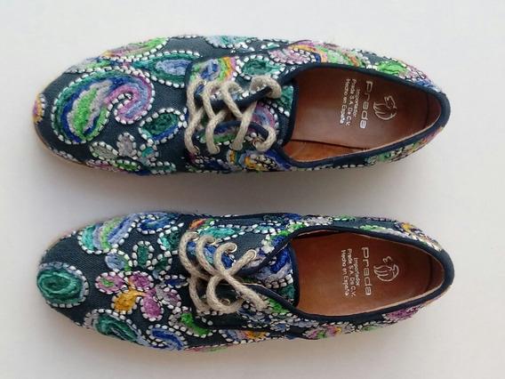 Zapatos Prada Bordados Florales ¡originales! Súper Precio.