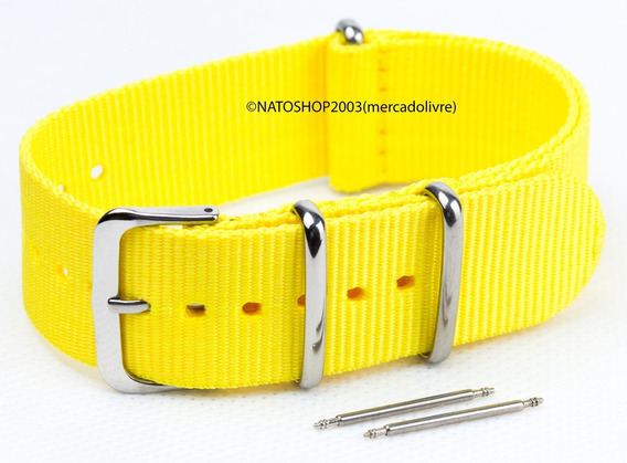 Pulseira Relógio Nato Nylon 18mm Amarelo 3 Anéis