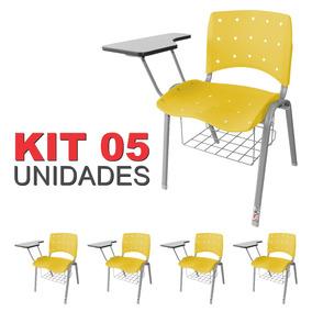 Kit 05 Universitária Ergoplax Iso C/ Porta Livros Amarela