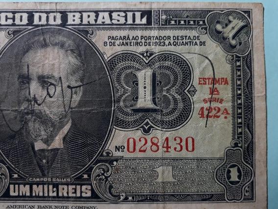 Cédula Autografa 1 Um Mil Réis Mbc Campos Salles