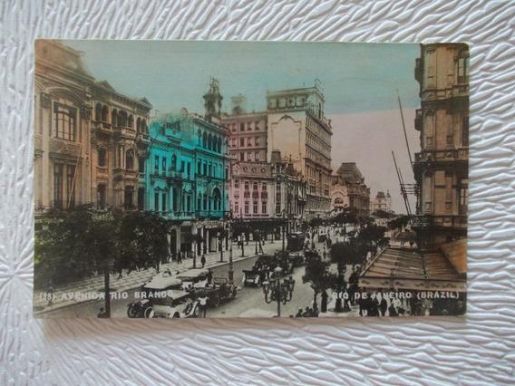 6483- Postal Antigua Brasil Rio J. Av. Rio Branco Nº 28 1922