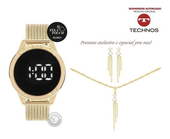 Relógio Euro Digital Dourado Touch Sabrina Sato + Colar + Nf