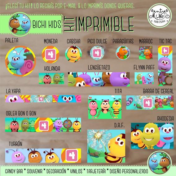 Candy Imprimible Personalizado X5 Bichi Kids. Stickers
