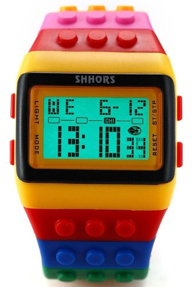 Relógio Colorido Digital Led Adulto Infantil Unissex Lego