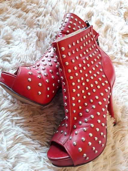 Zapatos Tipo Estileto Rojo Tachas