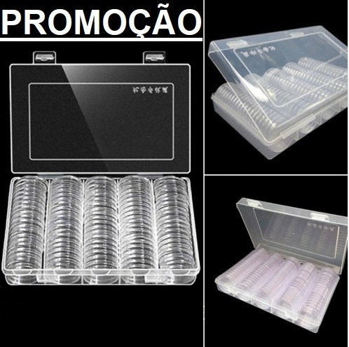 Promoção 100 Cápsulas De 27mm Para Moeda De 1 Real + Estojo