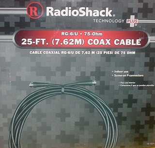 Radio Shack Rg-6 / U 75-ohm 25 Pie De (7.62m) Cable Coax (25