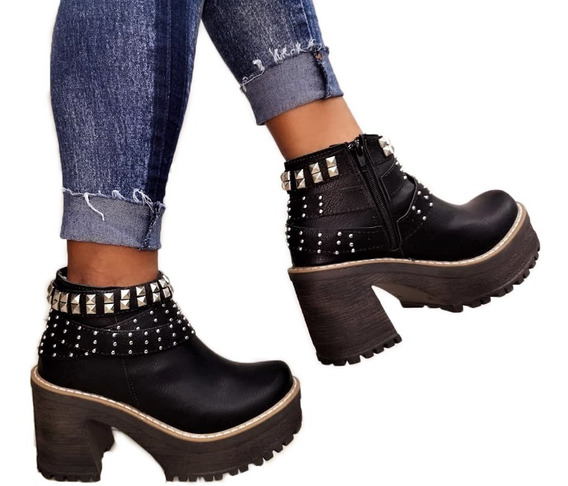 Zapatos Mujer Botas Botinetas Plataforma Livianas Texanas Dama Moda Altas 412