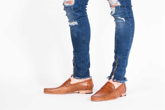 Zapato Para Hombre Mocasin Legitimo Grabado Reptil Marron