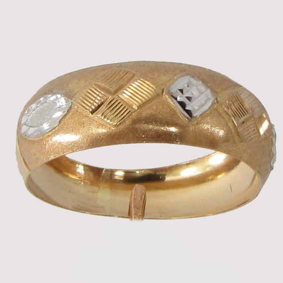 1850 Anel De Ouro 18k 750 Com Detalhe Em Ouro Branco