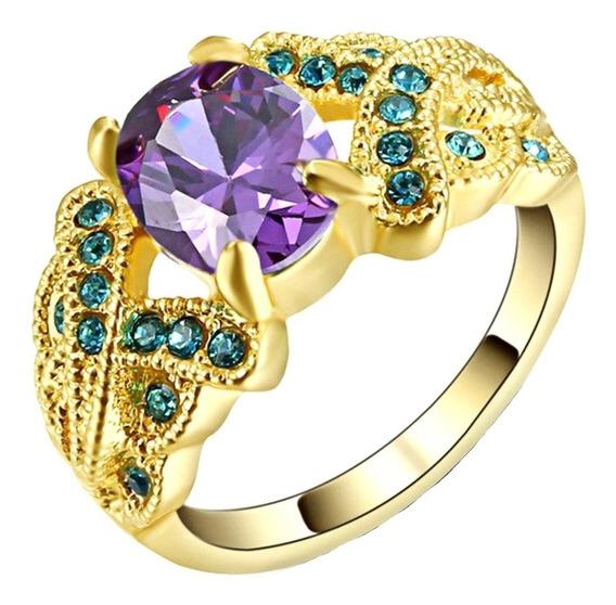 Lindíssimo Anel Feminino Cravejado Cristal Ametista 424 P