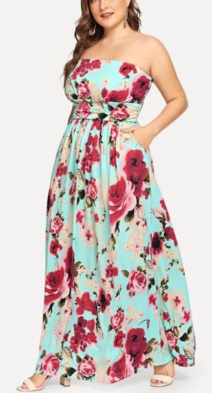 Vestido Extra Grande Largo Estraple Floreado