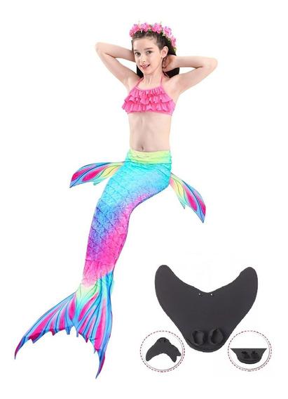 Set 4 Sirena Cola Y Bikini Niñas Traje De Baño Con Monoaleta
