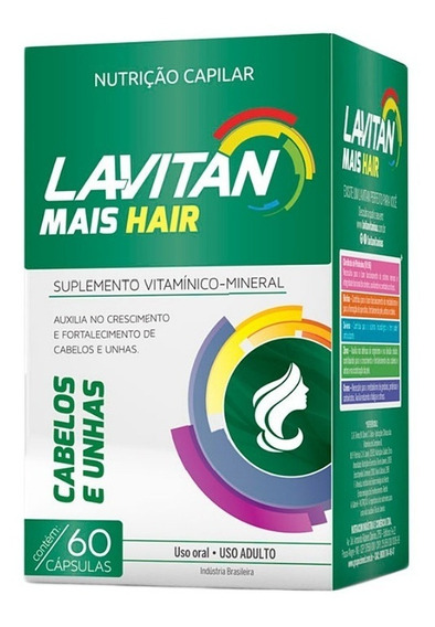 Lavitan Mais Hair C/ 60 Cápsulas Nutrição Capilar E Unhas