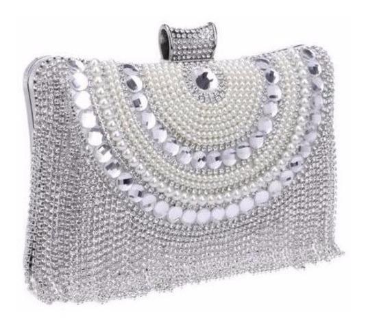 Bolsa Clutch Prata Stras Festa Casamento Carteira Cristal