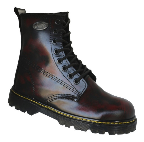 Botas Vino Cherry Piel England Style Mujer Tipo Dr. Martens
