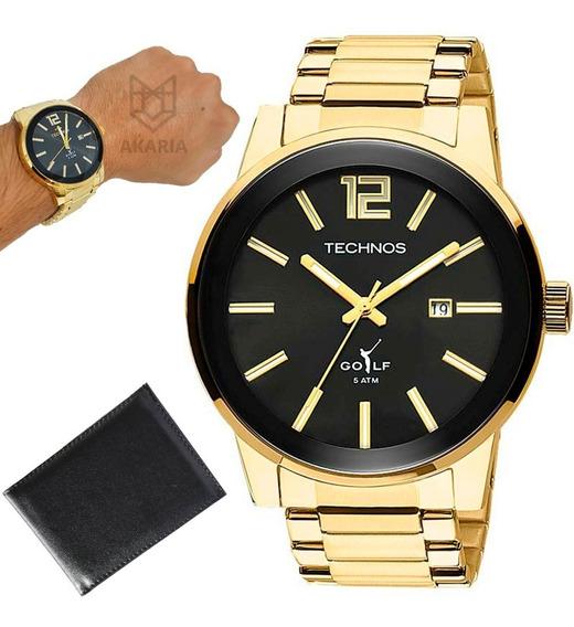 Relógio Masculino Technos Banhado Ouro 18k 2115tt/4p Barato