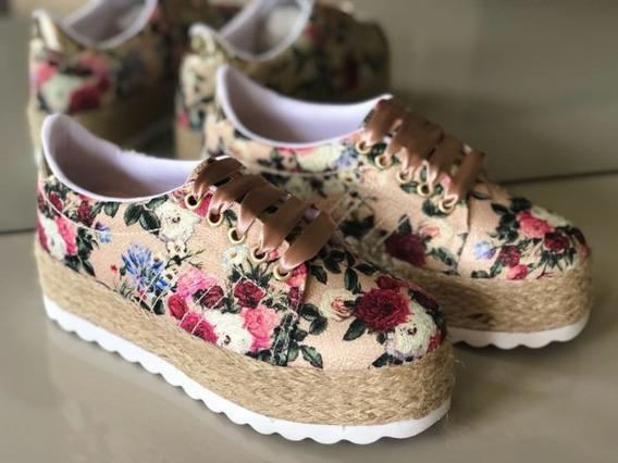 Tênis Plataforma Floral Rosê