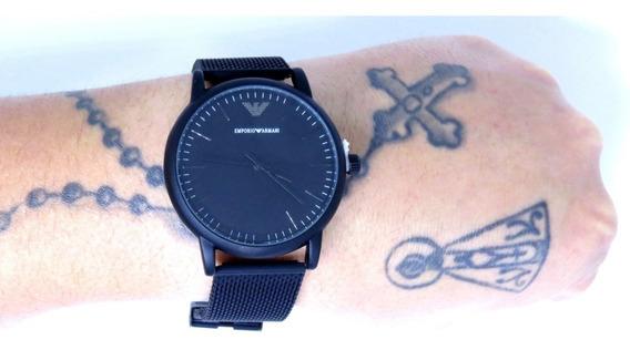Relógio Masculino Preto Analógico Aço Fosco Promoção + Caixa