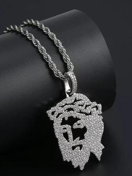 Colar Cordao Top Jesus Zirconias Pedras Brilhantes Hip-hop