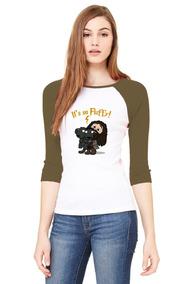 Playera 3/4 Harry Potter, Hagrid, Verde Militar, Mujer.