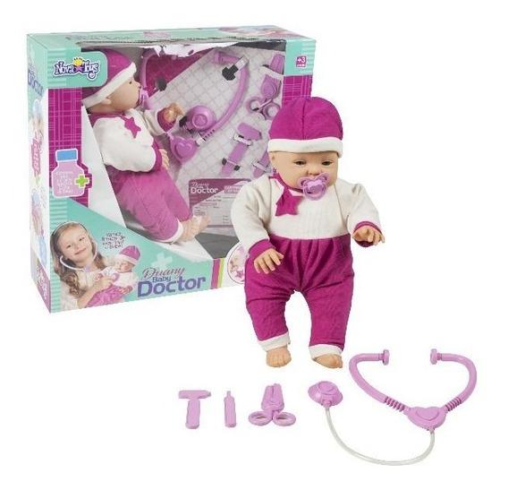 Boneca Brinquedo Bebê Baby Doctor Médico Tesoura Acessórios