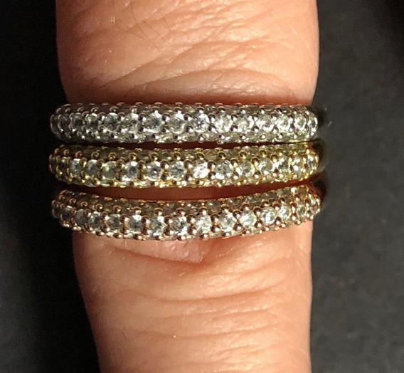 3 Anéis Banhado Em Ouro, Prata E Cobre Cobertos De Zircônia